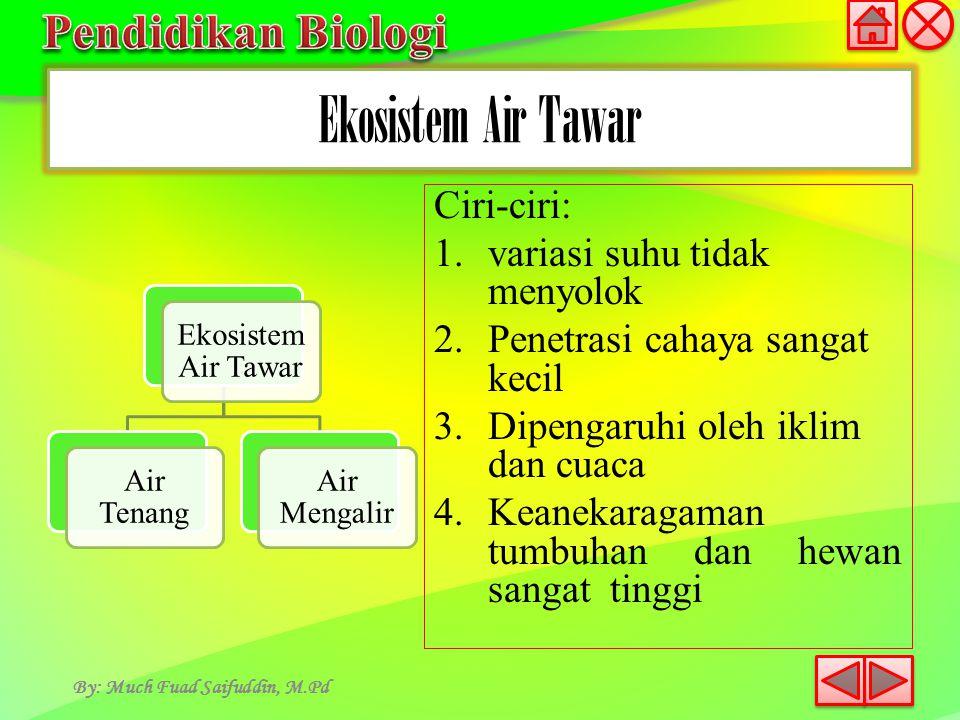 Ekosistem Air Tawar By: Much Fuad Saifuddin, M.Pd Ekosistem Air Tawar Air Tenang Air Mengalir Ciri-ciri: 1.variasi suhu tidak menyolok 2.Penetrasi cah