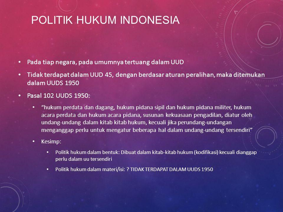 POLITIK HUKUM INDONESIA Pada tiap negara, pada umumnya tertuang dalam UUD Tidak terdapat dalam UUD 45, dengan berdasar aturan peralihan, maka ditemuka