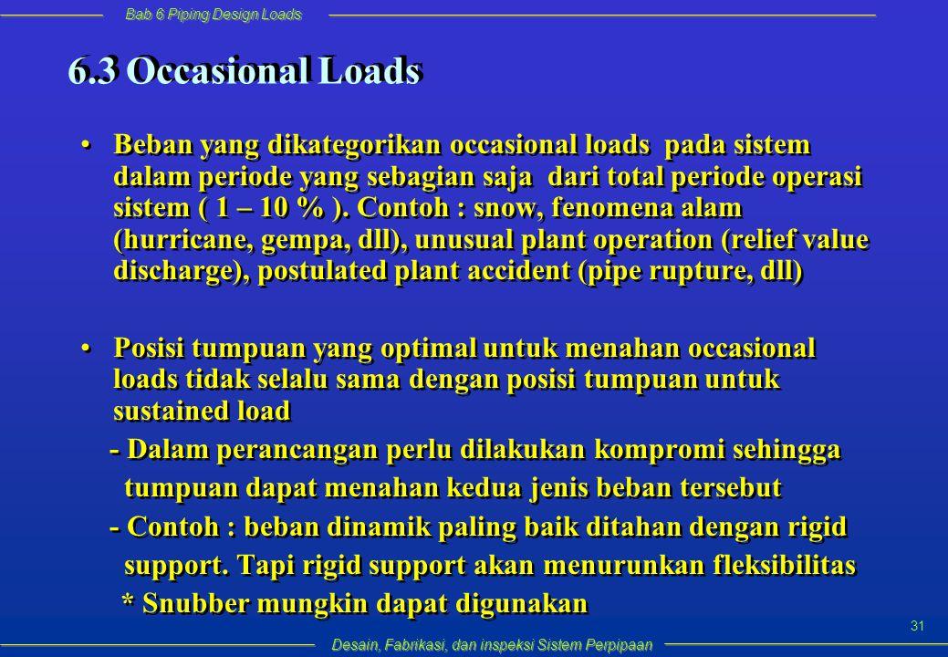 Bab 6 Piping Design Loads Desain, Fabrikasi, dan inspeksi Sistem Perpipaan 31 Beban yang dikategorikan occasional loads pada sistem dalam periode yang sebagian saja dari total periode operasi sistem ( 1 – 10 % ).