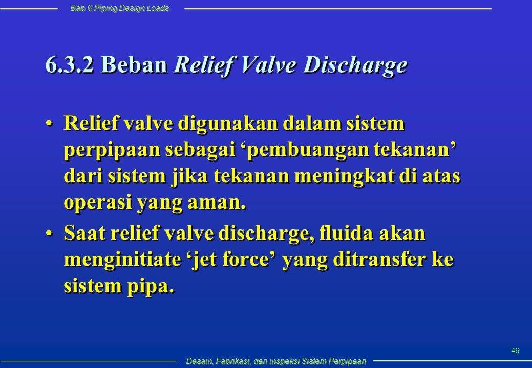 Bab 6 Piping Design Loads Desain, Fabrikasi, dan inspeksi Sistem Perpipaan 46 6.3.2 Beban Relief Valve Discharge Relief valve digunakan dalam sistem perpipaan sebagai 'pembuangan tekanan' dari sistem jika tekanan meningkat di atas operasi yang aman.