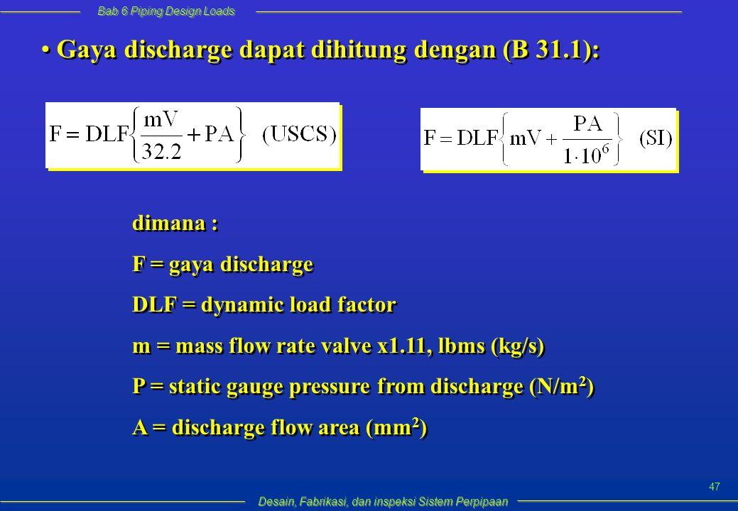 Bab 6 Piping Design Loads Desain, Fabrikasi, dan inspeksi Sistem Perpipaan 47 dimana : F = gaya discharge DLF = dynamic load factor m = mass flow rate valve x1.11, lbms (kg/s) P = static gauge pressure from discharge (N/m 2 ) A = discharge flow area (mm 2 ) dimana : F = gaya discharge DLF = dynamic load factor m = mass flow rate valve x1.11, lbms (kg/s) P = static gauge pressure from discharge (N/m 2 ) A = discharge flow area (mm 2 ) Gaya discharge dapat dihitung dengan (B 31.1):