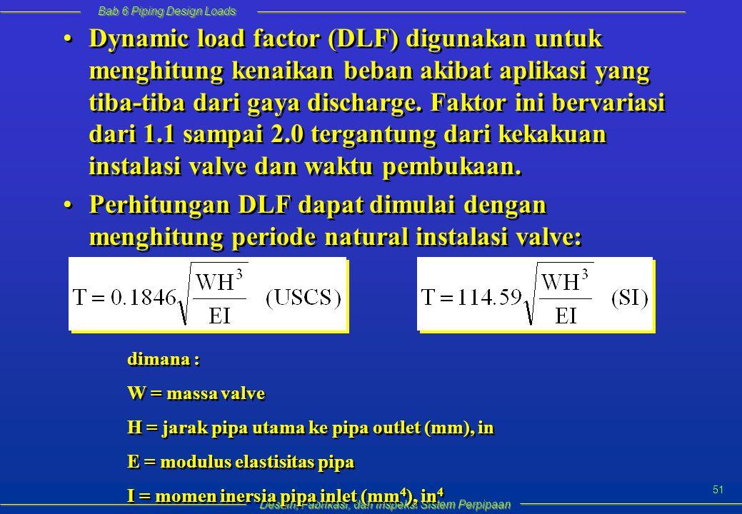 Bab 6 Piping Design Loads Desain, Fabrikasi, dan inspeksi Sistem Perpipaan 51 Dynamic load factor (DLF) digunakan untuk menghitung kenaikan beban akibat aplikasi yang tiba-tiba dari gaya discharge.