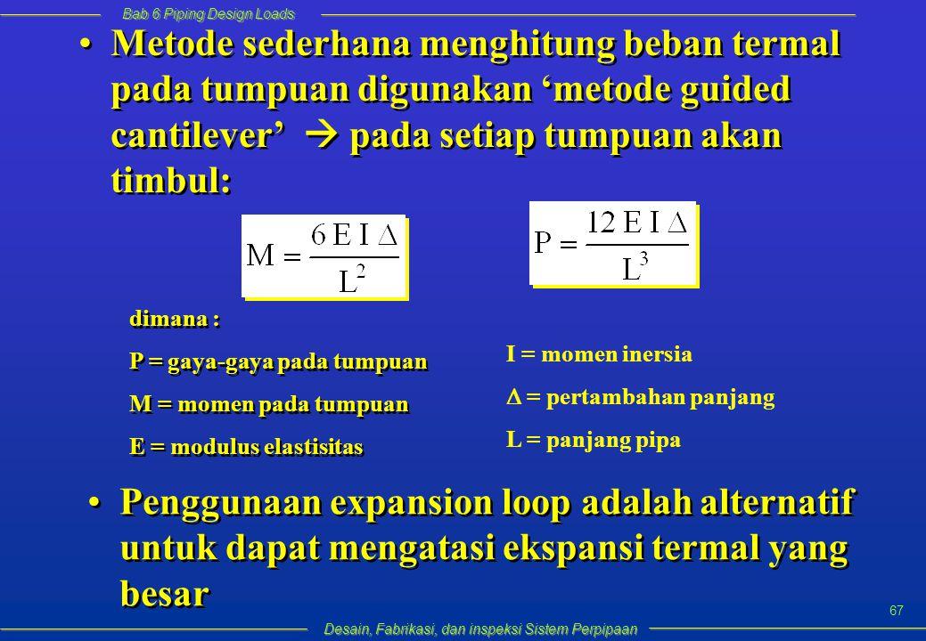 Bab 6 Piping Design Loads Desain, Fabrikasi, dan inspeksi Sistem Perpipaan 67 Metode sederhana menghitung beban termal pada tumpuan digunakan 'metode guided cantilever'  pada setiap tumpuan akan timbul: dimana : P = gaya-gaya pada tumpuan M = momen pada tumpuan E = modulus elastisitas dimana : P = gaya-gaya pada tumpuan M = momen pada tumpuan E = modulus elastisitas I = momen inersia  = pertambahan panjang L = panjang pipa Penggunaan expansion loop adalah alternatif untuk dapat mengatasi ekspansi termal yang besar
