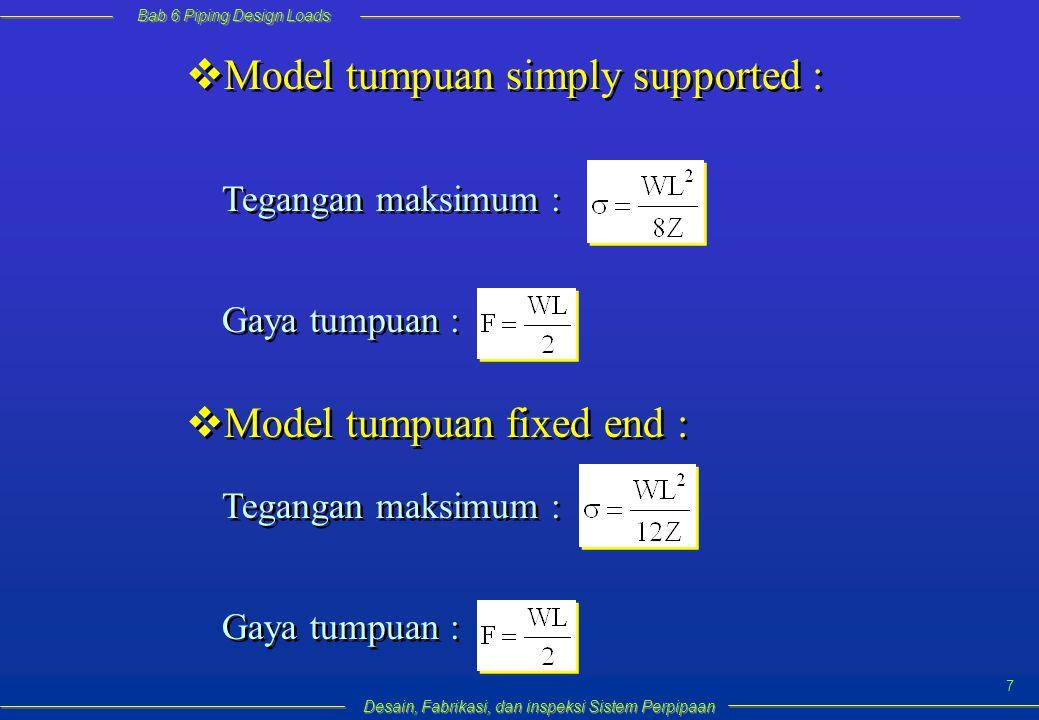 Bab 6 Piping Design Loads Desain, Fabrikasi, dan inspeksi Sistem Perpipaan 8  Dalam kenyataan, kondisi tumpuan umumnya adalah antara simply supported dengan fixed-end, sehingga tegangan maksimum biasanya dihitung dengan persamaan :  Jadi untuk pipa horizontal lurus, jarak antar tumpuan dapat dihitung : dimana : L = jarak tumpuan maksimum S = tegangan yang diijinkan (tergantung dari jenis material pipa, temperatur dan code)  Dalam kenyataan, kondisi tumpuan umumnya adalah antara simply supported dengan fixed-end, sehingga tegangan maksimum biasanya dihitung dengan persamaan :  Jadi untuk pipa horizontal lurus, jarak antar tumpuan dapat dihitung : dimana : L = jarak tumpuan maksimum S = tegangan yang diijinkan (tergantung dari jenis material pipa, temperatur dan code) atau lebih konservatif