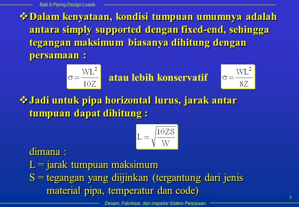 Bab 6 Piping Design Loads Desain, Fabrikasi, dan inspeksi Sistem Perpipaan 49 Dan P A = tekanan atmosfer