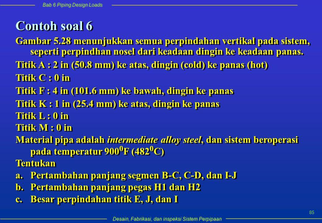 Bab 6 Piping Design Loads Desain, Fabrikasi, dan inspeksi Sistem Perpipaan 85 Contoh soal 6 Gambar 5.28 menunjukkan semua perpindahan vertikal pada sistem, seperti perpindhan nosel dari keadaan dingin ke keadaan panas.