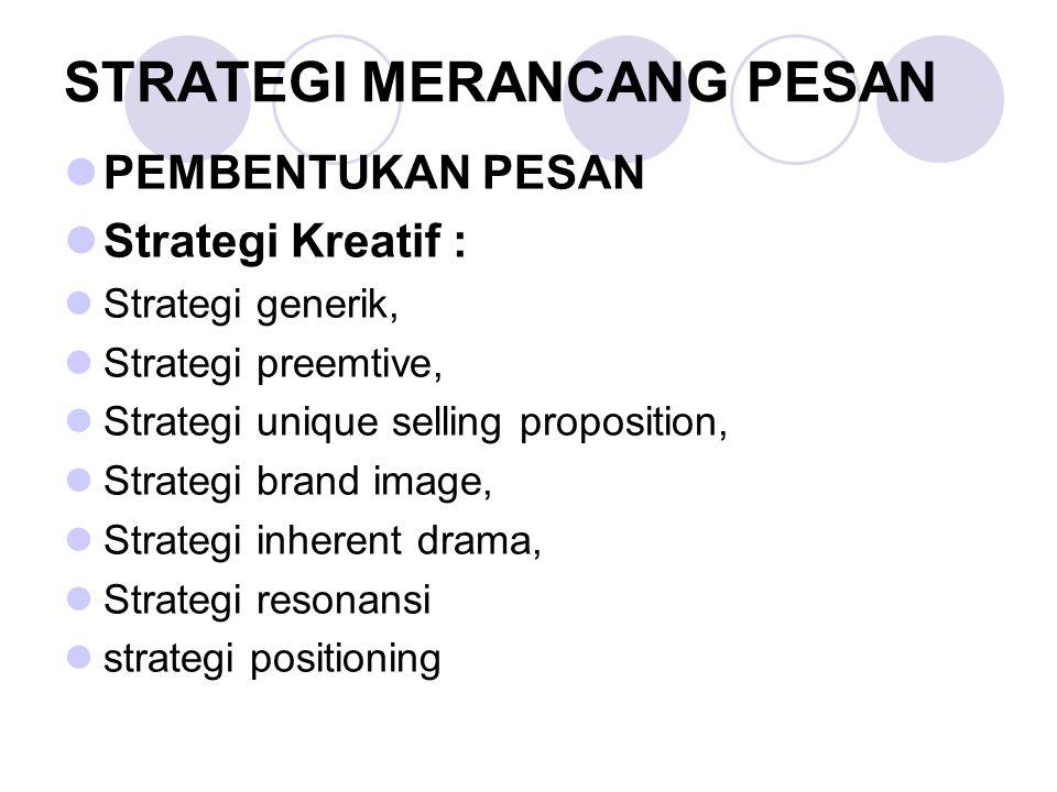 STRATEGI MERANCANG PESAN PEMBENTUKAN PESAN Strategi Kreatif : Strategi generik, Strategi preemtive, Strategi unique selling proposition, Strategi brand image, Strategi inherent drama, Strategi resonansi strategi positioning