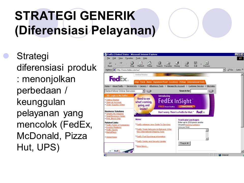 STRATEGI GENERIK (Diferensiasi Pelayanan) Strategi diferensiasi produk : menonjolkan perbedaan / keunggulan pelayanan yang mencolok (FedEx, McDonald,