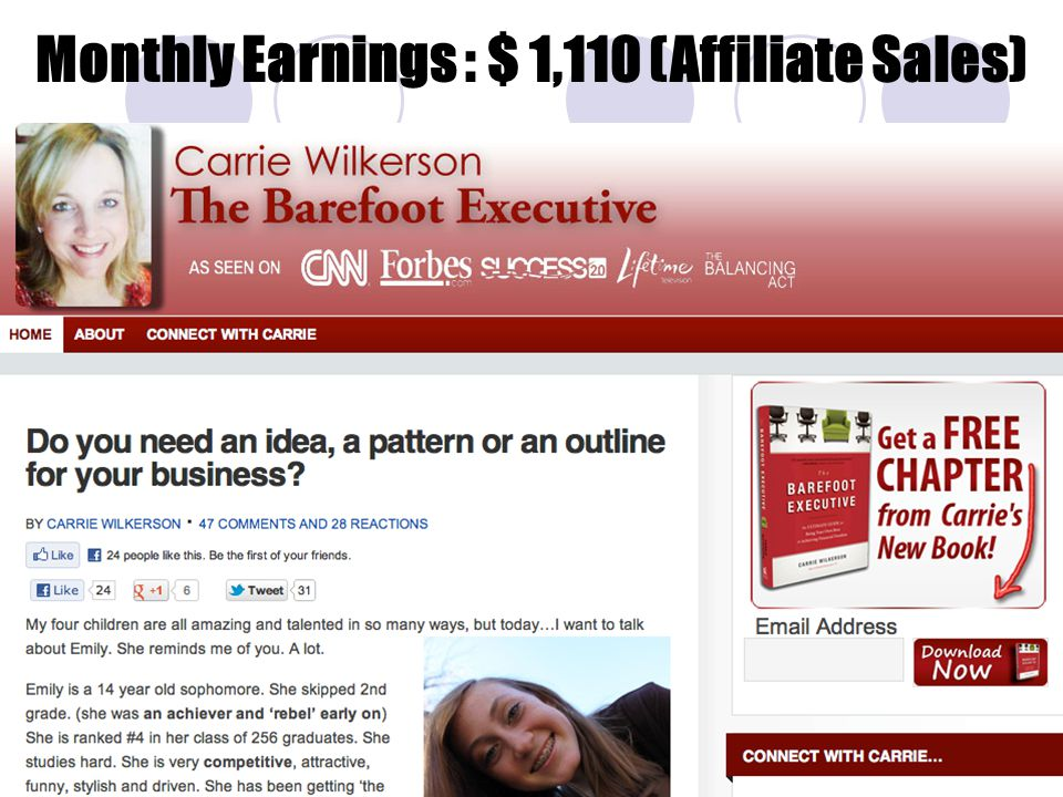 Monthly Earnings : $ 1,110 (Affiliate Sales)