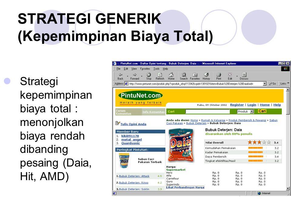 STRATEGI GENERIK (Kepemimpinan Biaya Total) Strategi kepemimpinan biaya total : menonjolkan biaya rendah dibanding pesaing (Daia, Hit, AMD)