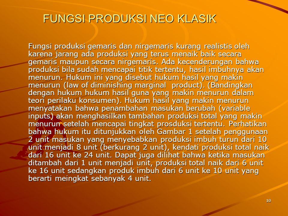 10 FUNGSI PRODUKSI NEO KLASIK Fungsi produksi gemaris dan nirgemaris kurang realistis oleh karena jarang ada produksi yang terus menaik baik secara gemaris maupun secara nirgemaris.