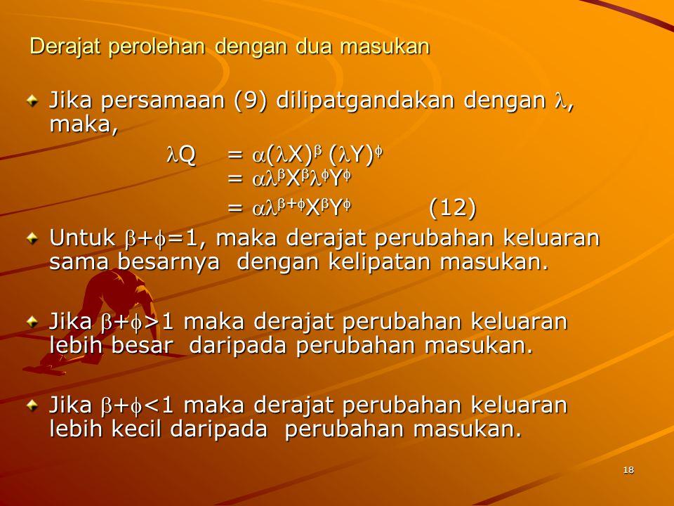 18 Derajat perolehan dengan dua masukan Jika persamaan (9) dilipatgandakan dengan, maka, Q= (X) (Y) = XY = +XY(12) Untuk +=1, maka derajat perubahan keluaran sama besarnya dengan kelipatan masukan.