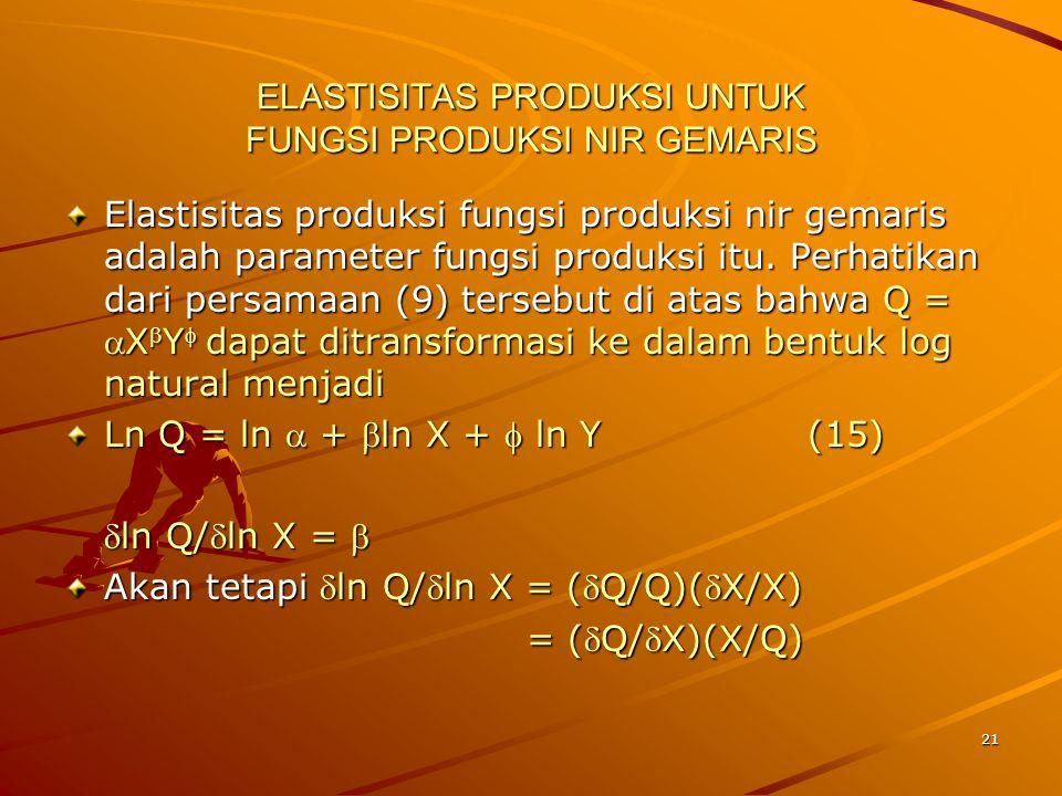 21 ELASTISITAS PRODUKSI UNTUK FUNGSI PRODUKSI NIR GEMARIS Elastisitas produksi fungsi produksi nir gemaris adalah parameter fungsi produksi itu.