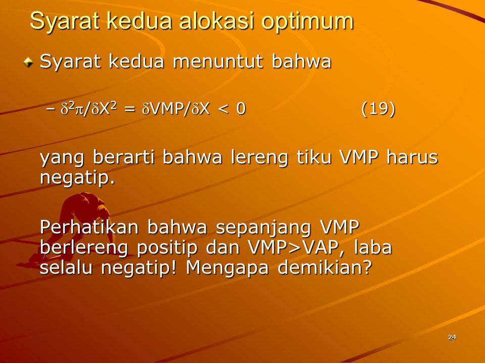 24 Syarat kedua alokasi optimum Syarat kedua menuntut bahwa – 2 /X 2 = VMP/X < 0(19) yang berarti bahwa lereng tiku VMP harus negatip.