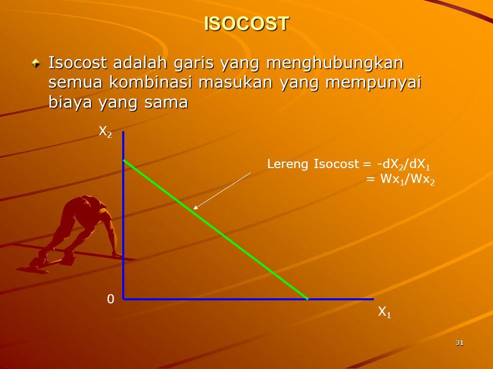 31 ISOCOST Isocost adalah garis yang menghubungkan semua kombinasi masukan yang mempunyai biaya yang sama X1X1 X2X2 Lereng Isocost = -dX 2 /dX 1 = Wx 1 /Wx 2 0