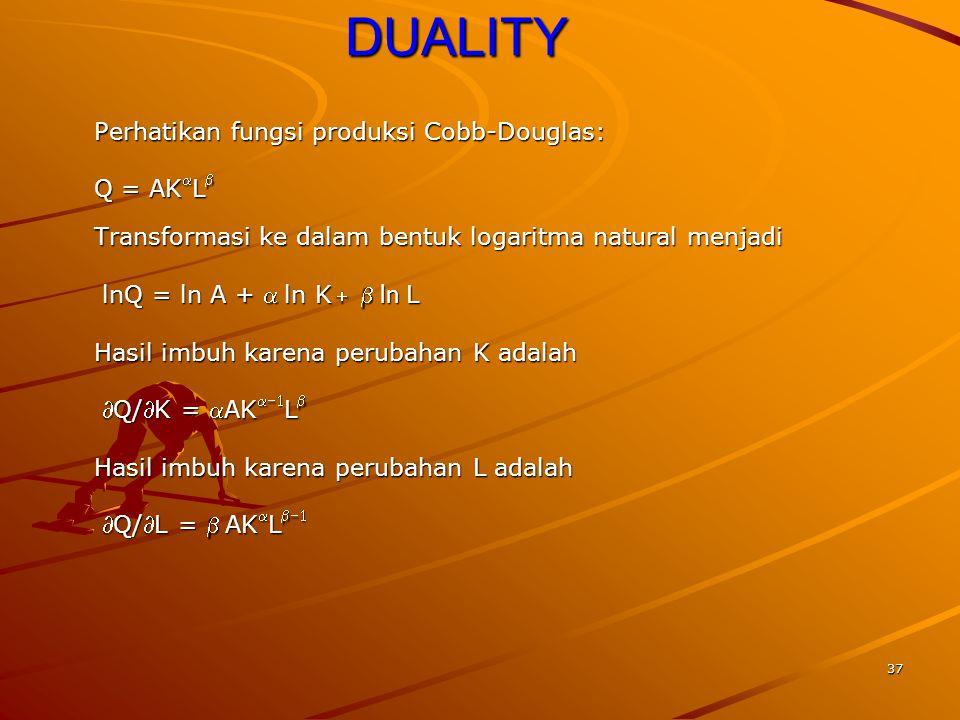 37DUALITY Perhatikan fungsi produksi Cobb-Douglas: Q = AK  L  Transformasi ke dalam bentuk logaritma natural menjadi lnQ = ln A + ln K   ln L lnQ = ln A + ln K   ln L Hasil imbuh karena perubahan K adalah Q/K = AK  L  Q/K = AK  L  Hasil imbuh karena perubahan L adalah Q/L = AK  L  Q/L = AK  L 