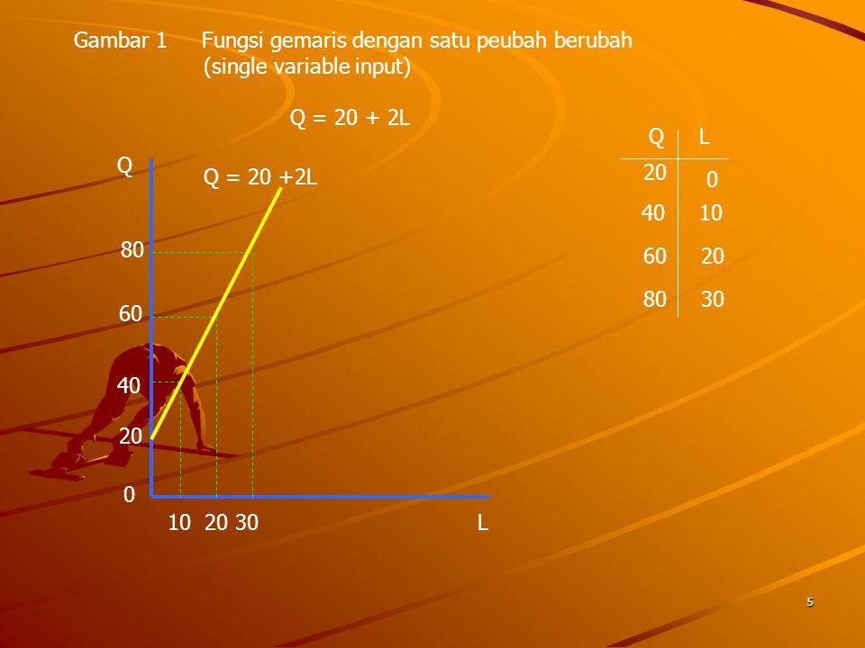 5 Gambar 1 Fungsi gemaris dengan satu peubah berubah (single variable input) Q = 20 + 2L QL 1040 2060 3080 0 20 L Q Q = 20 +2L 0 10 20 30 20 40 60 80