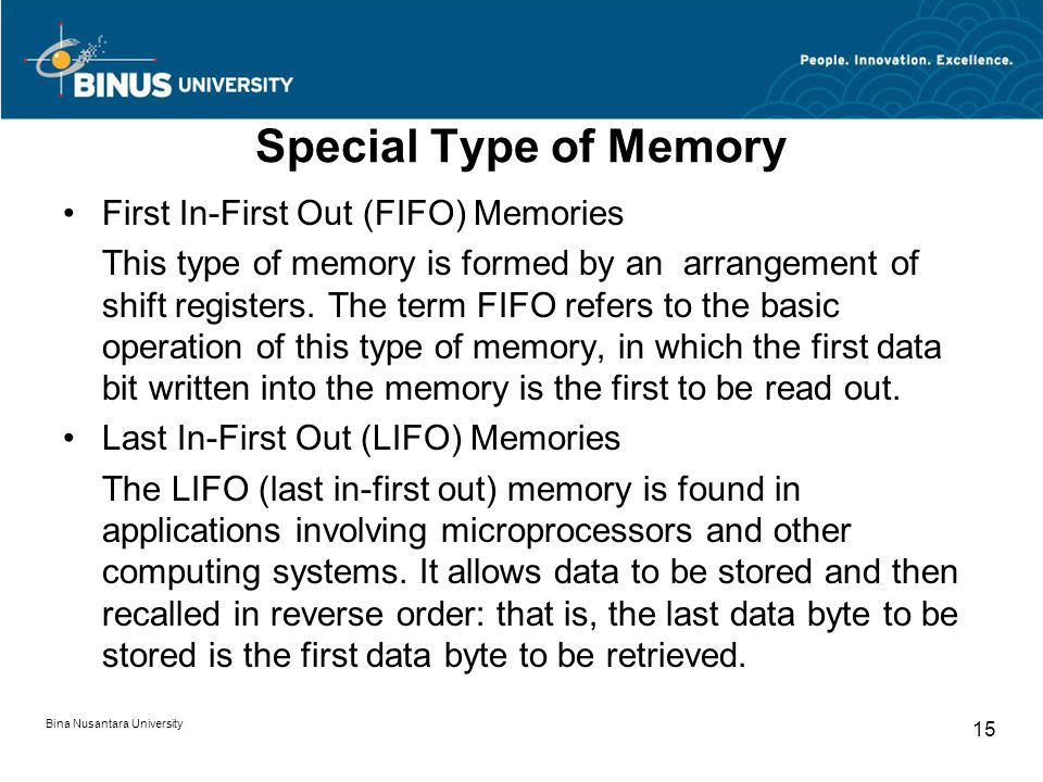 Special Type of Memory First In-First Out (FIFO) Memories This type of memory is formed by an arrangement of shift registers.