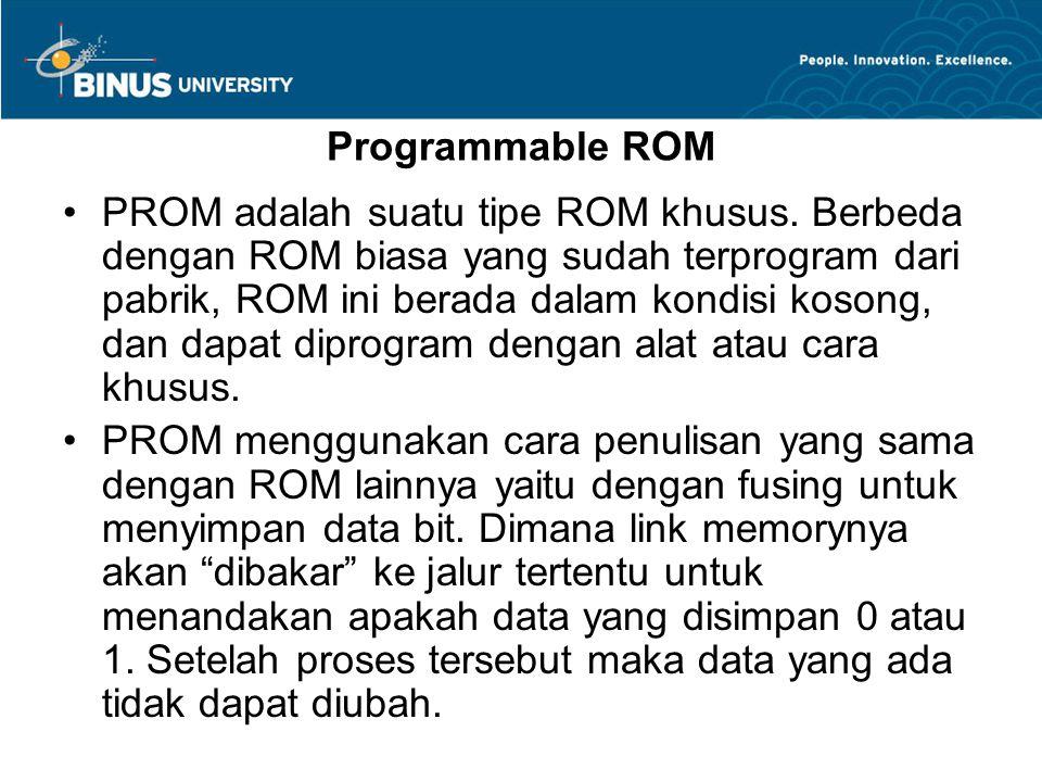 Programmable ROM PROM adalah suatu tipe ROM khusus.