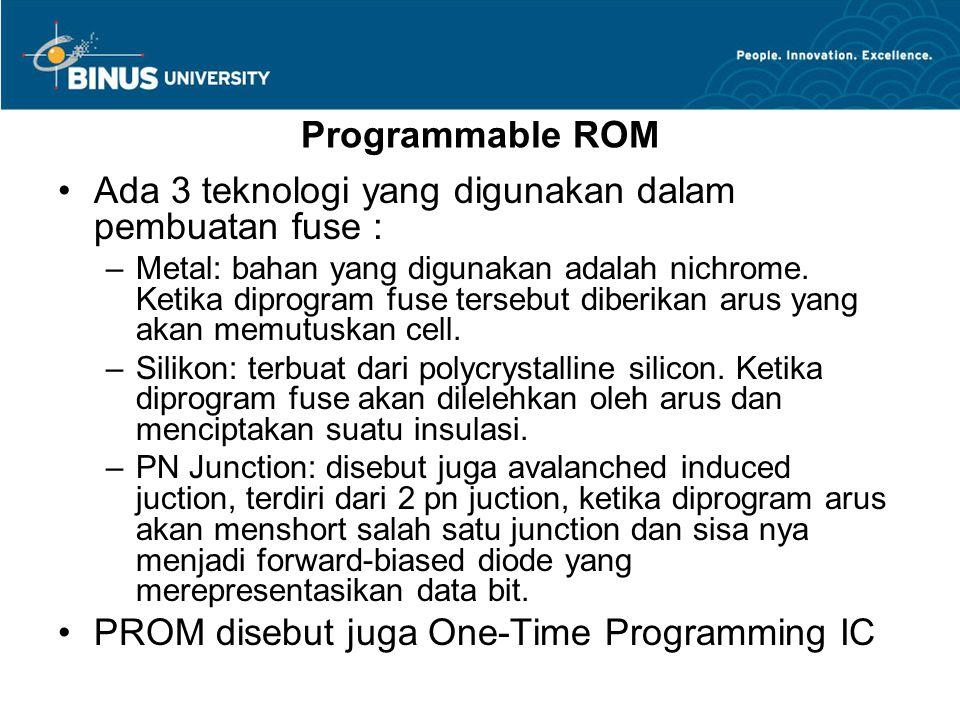 Programmable ROM Ada 3 teknologi yang digunakan dalam pembuatan fuse : –Metal: bahan yang digunakan adalah nichrome.