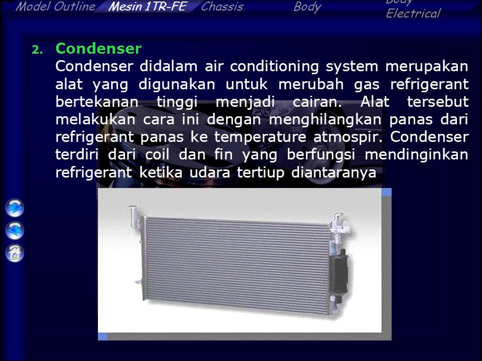 ChassisBody Electrical Model OutlineMesin 1TR-FE 2. Condenser Condenser didalam air conditioning system merupakan alat yang digunakan untuk merubah ga