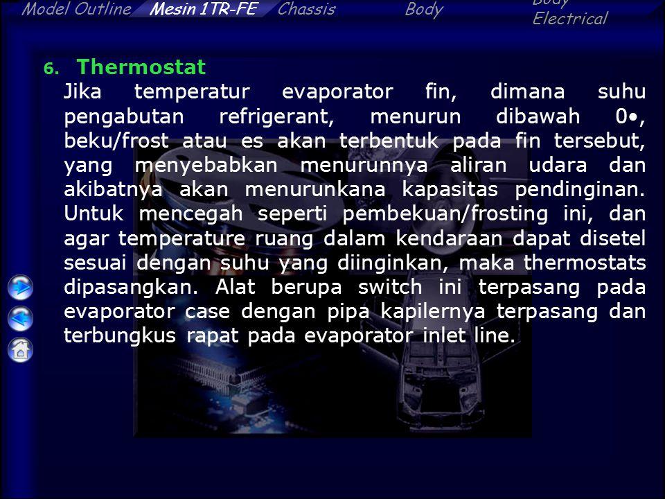 ChassisBody Electrical Model OutlineMesin 1TR-FE 6. Thermostat Jika temperatur evaporator fin, dimana suhu pengabutan refrigerant, menurun dibawah 0,