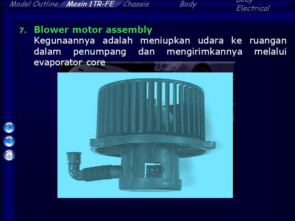 ChassisBody Electrical Model OutlineMesin 1TR-FE 7. Blower motor assembly Kegunaannya adalah meniupkan udara ke ruangan dalam penumpang dan mengirimka