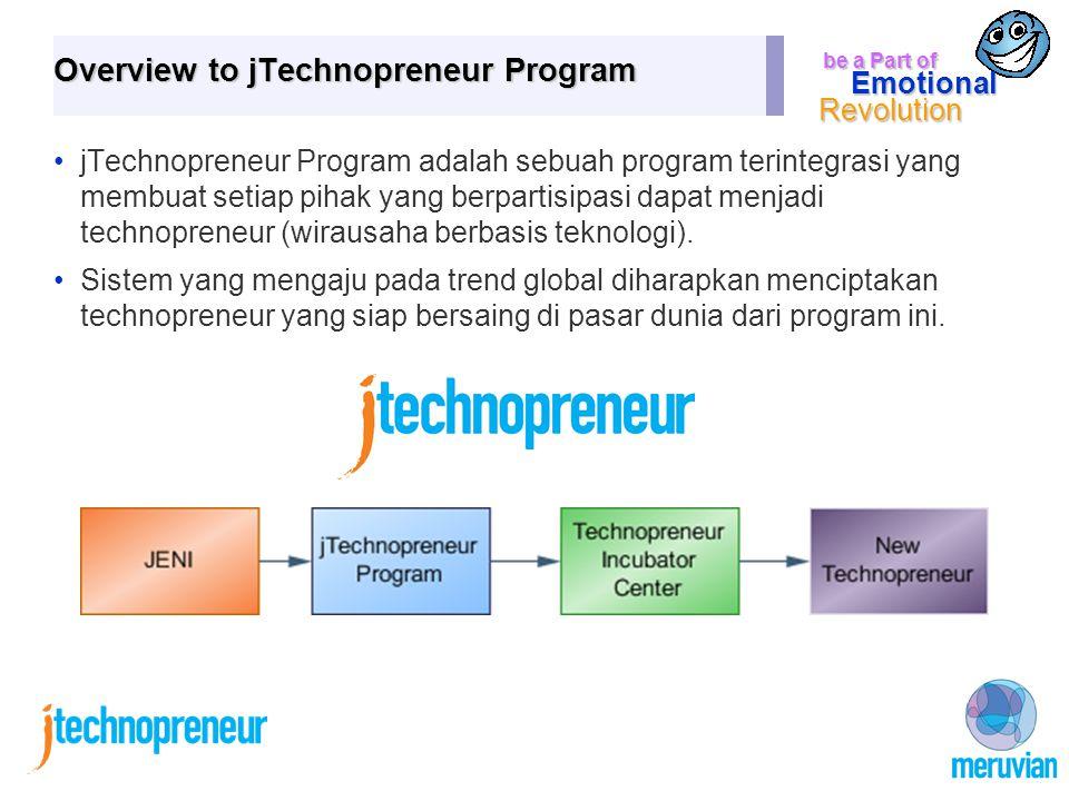 be a Part of Emotional Revolution Overview to jTechnopreneur Program jTechnopreneur Program adalah sebuah program terintegrasi yang membuat setiap pihak yang berpartisipasi dapat menjadi technopreneur (wirausaha berbasis teknologi).