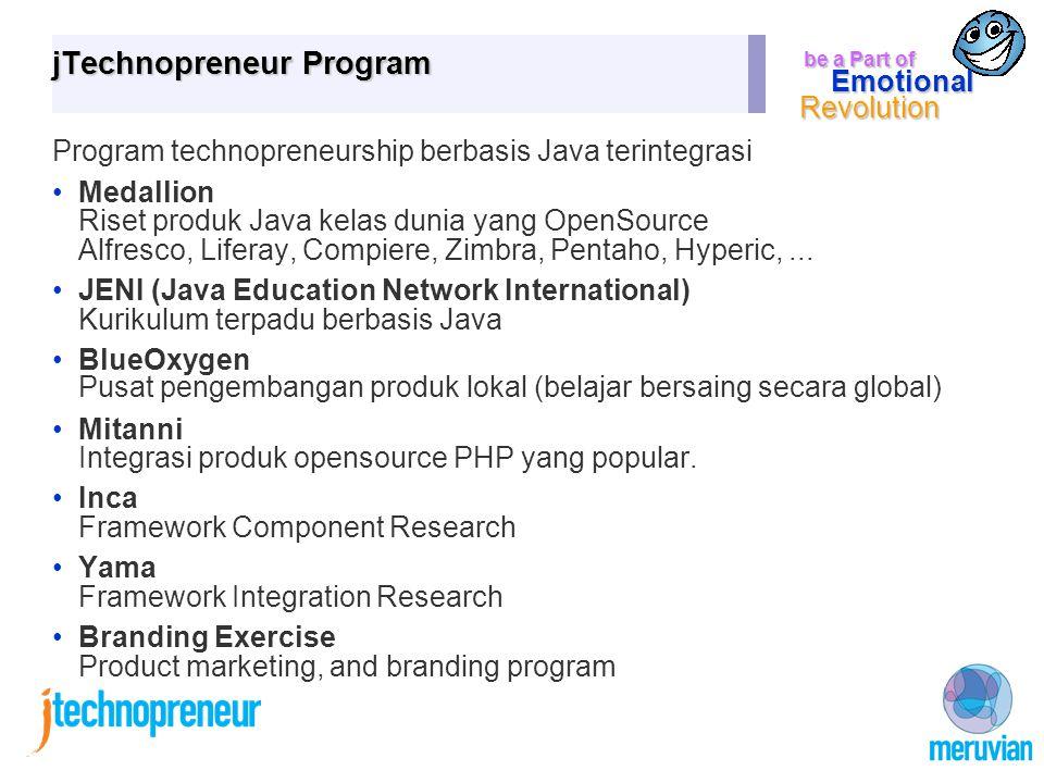 be a Part of Emotional Revolution jTechnopreneur Program Program technopreneurship berbasis Java terintegrasi Medallion Riset produk Java kelas dunia yang OpenSource Alfresco, Liferay, Compiere, Zimbra, Pentaho, Hyperic,...