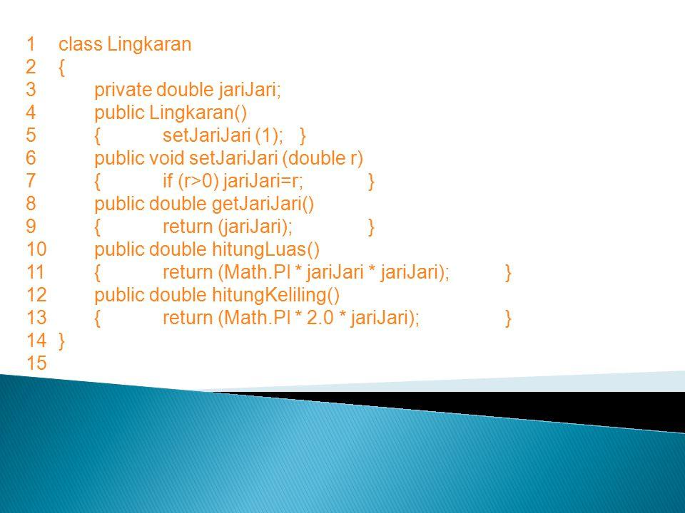 1class Lingkaran 2{ 3private double jariJari; 4public Lingkaran() 5{setJariJari (1);} 6public void setJariJari (double r) 7{if (r>0) jariJari=r;} 8public double getJariJari() 9{return (jariJari);} 10public double hitungLuas() 11{return (Math.PI * jariJari * jariJari);} 12public double hitungKeliling() 13{return (Math.PI * 2.0 * jariJari);} 14} 15