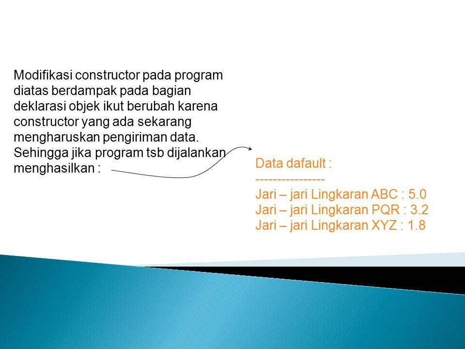 Modifikasi constructor pada program diatas berdampak pada bagian deklarasi objek ikut berubah karena constructor yang ada sekarang mengharuskan pengir