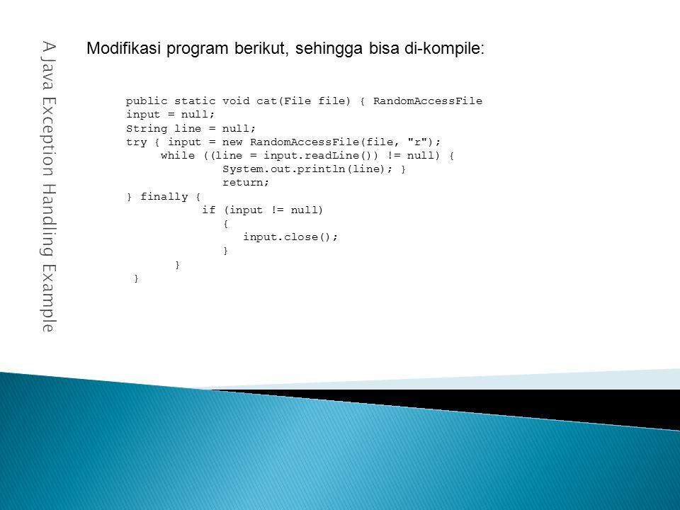 30abc.setJariJari(5)); 31pqr.setJariJari(3.2)); 32xyz.setJariJari(1.8)); 33 34System.out.println ( Data Sekarang : ); 35System.out.println ( -------------------- ); 36System.out.println ( Jari – Jari ABC : + abc.getJariJari()); 37System.out.println ( Jari – Jari PQR : + pqr.getJariJari()); 38System.out.println ( Jari – Jari XYZ : + xyz.getJariJari()); 39System.out.println (); 40} 41}