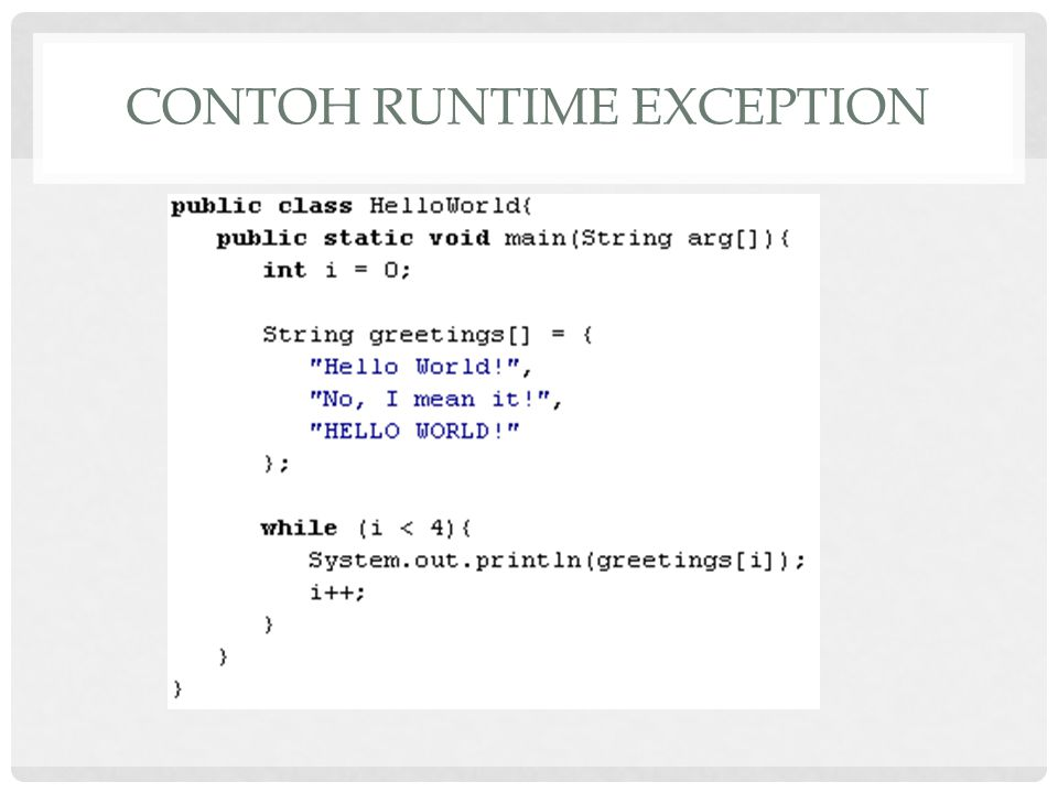 CONTOH RUNTIME EXCEPTION
