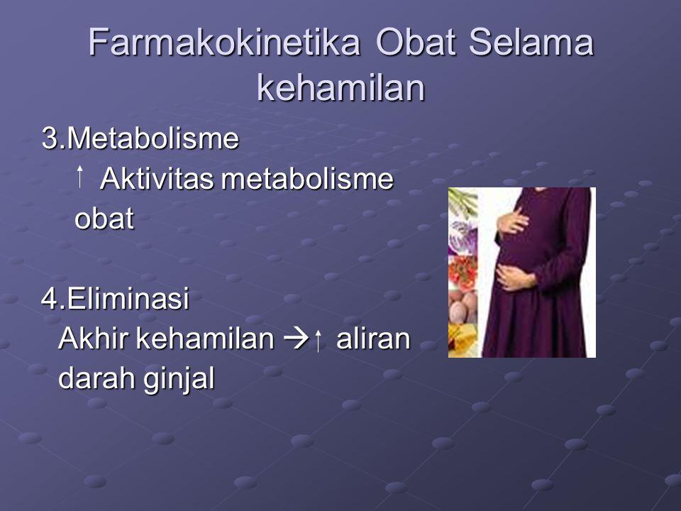 Farmakokinetika Obat Selama kehamilan 3.Metabolisme Aktivitas metabolisme Aktivitas metabolisme obat obat4.Eliminasi Akhir kehamilan  aliran Akhir kehamilan  aliran darah ginjal darah ginjal