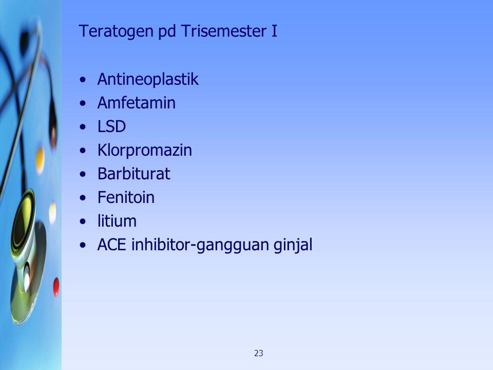 23 Teratogen pd Trisemester I Antineoplastik Amfetamin LSD Klorpromazin Barbiturat Fenitoin litium ACE inhibitor-gangguan ginjal