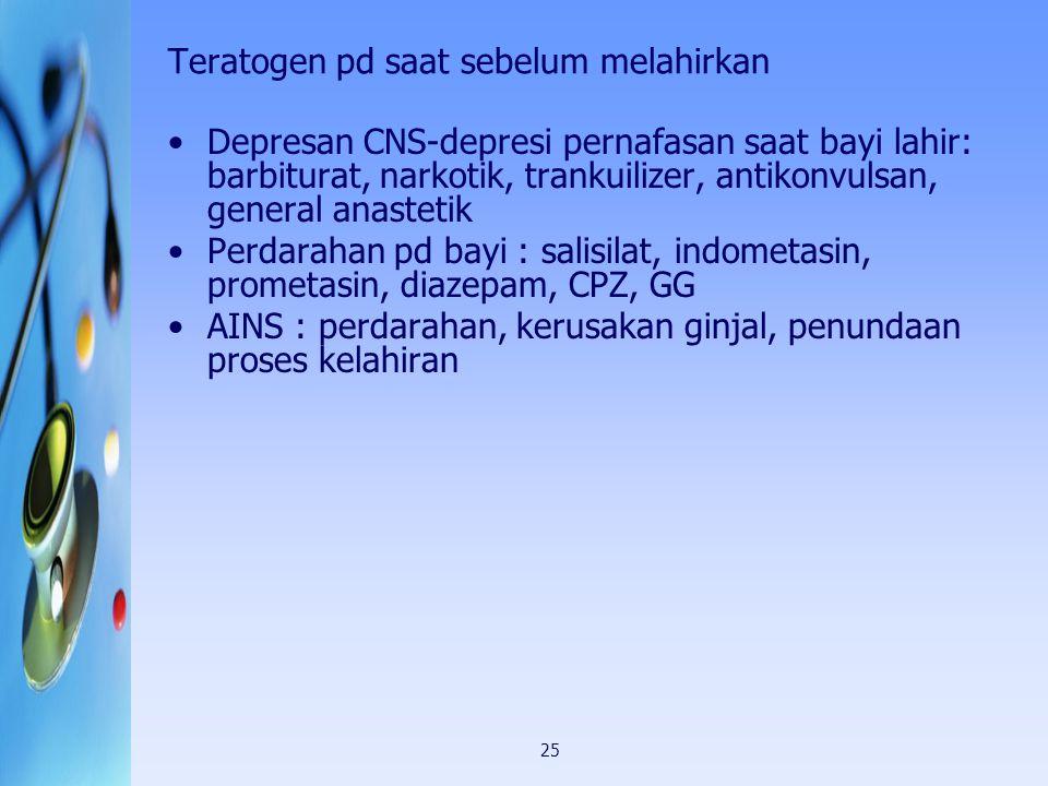 25 Teratogen pd saat sebelum melahirkan Depresan CNS-depresi pernafasan saat bayi lahir: barbiturat, narkotik, trankuilizer, antikonvulsan, general an