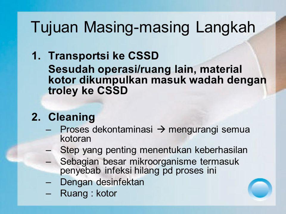 Tujuan Masing-masing Langkah 1.Transportsi ke CSSD Sesudah operasi/ruang lain, material kotor dikumpulkan masuk wadah dengan troley ke CSSD 2.Cleaning