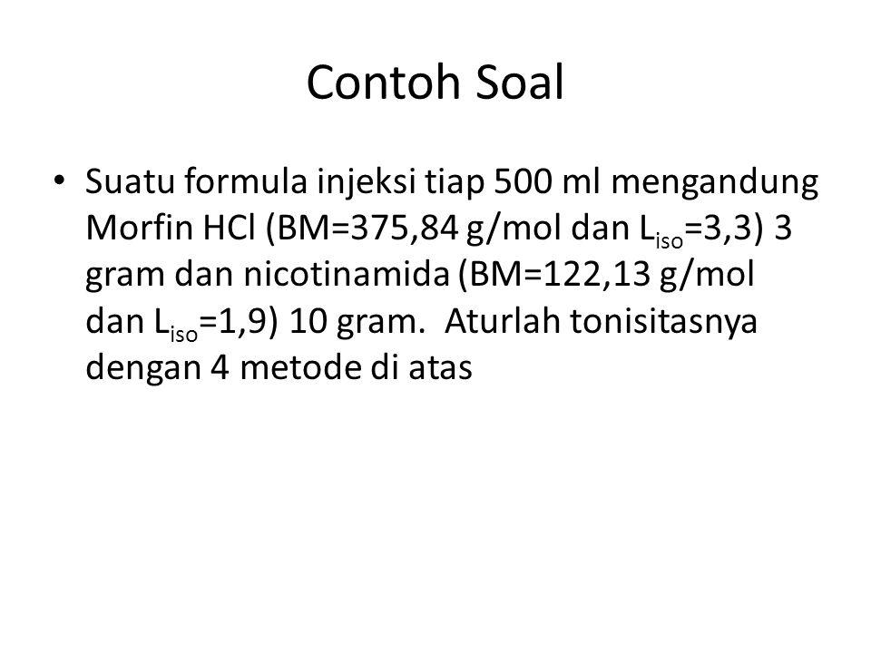Contoh Soal Suatu formula injeksi tiap 500 ml mengandung Morfin HCl (BM=375,84 g/mol dan L iso =3,3) 3 gram dan nicotinamida (BM=122,13 g/mol dan L is