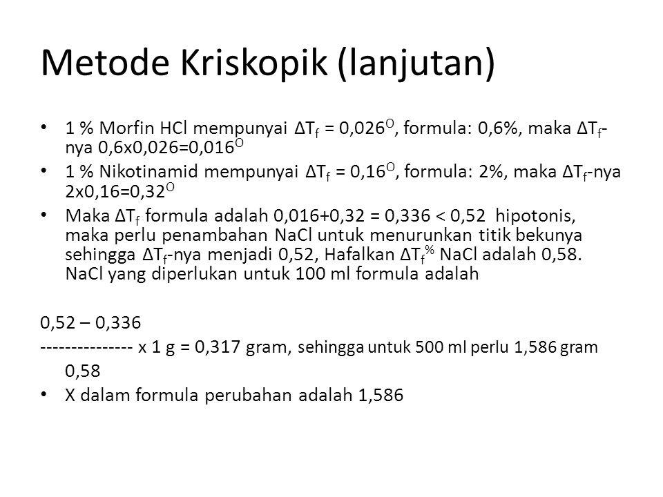 Metode Kriskopik (lanjutan) 1 % Morfin HCl mempunyai ΔT f = 0,026 O, formula: 0,6%, maka ΔT f - nya 0,6x0,026=0,016 O 1 % Nikotinamid mempunyai ΔT f =