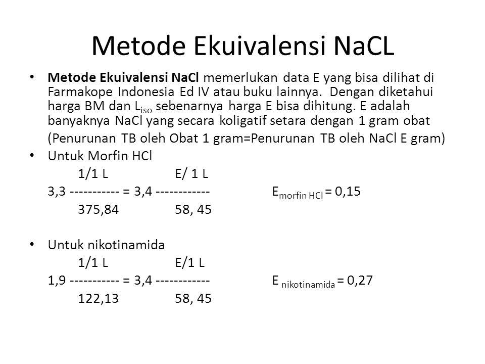 Metode Ekuivalensi NaCL Metode Ekuivalensi NaCl memerlukan data E yang bisa dilihat di Farmakope Indonesia Ed IV atau buku lainnya. Dengan diketahui h