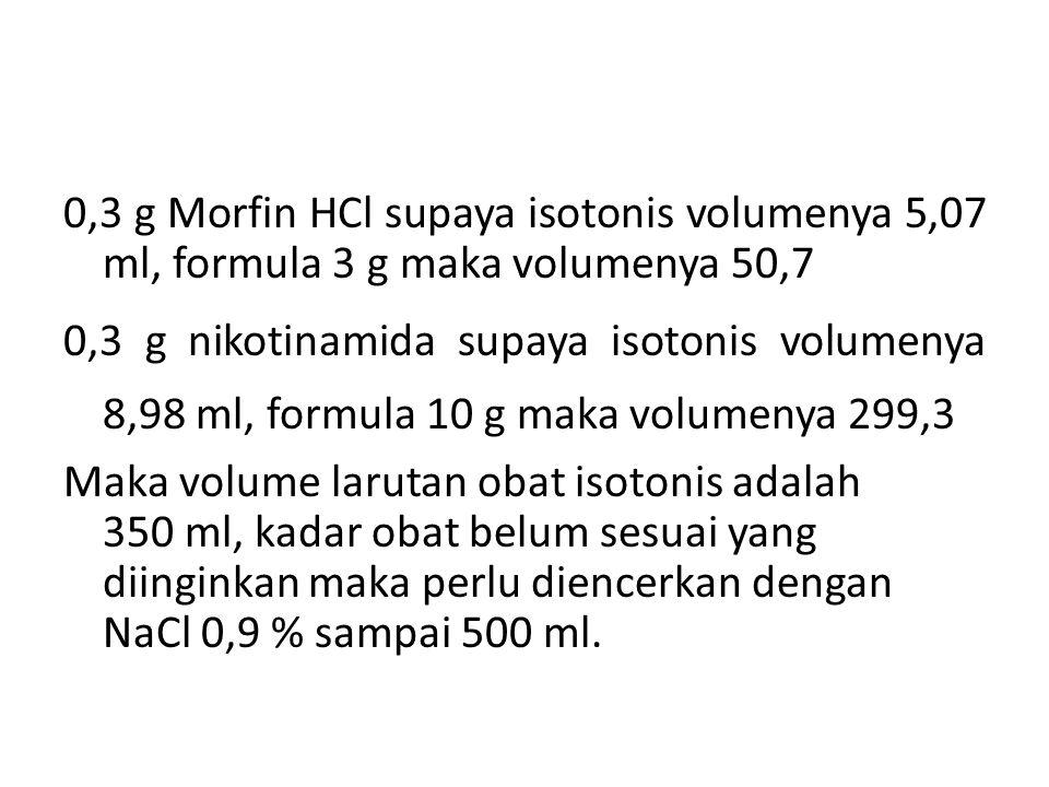 0,3 g Morfin HCl supaya isotonis volumenya 5,07 ml, formula 3 g maka volumenya 50,7 0,3 g nikotinamida supaya isotonis volumenya 8,98 ml, formula 10 g