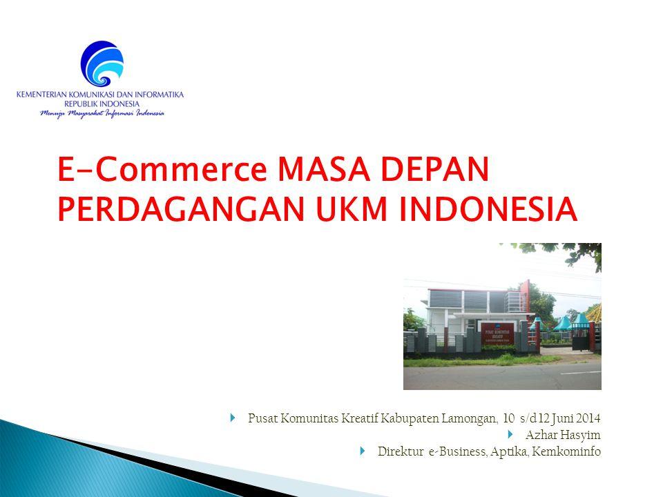 12 Potensi e-Commerce di Indonesia FAKTOR GEOGRAFIS INDONESIA yang terdiri dari banyak pulau dan tersebar akan menduung berkembangnya e-Commerce JUMLAH PENDUDUK INDONESIA : jumlah penduduk yang sangat besar dengan budaya beragam merupakan potensi konsumen yang besar pula DATA UKM : Data BPS tahun 2009, dari sisi jumlah menunjukkan bahwa UKM sangat dominan, yaitu sebanyak 52,2 juta atau 98,87 %.