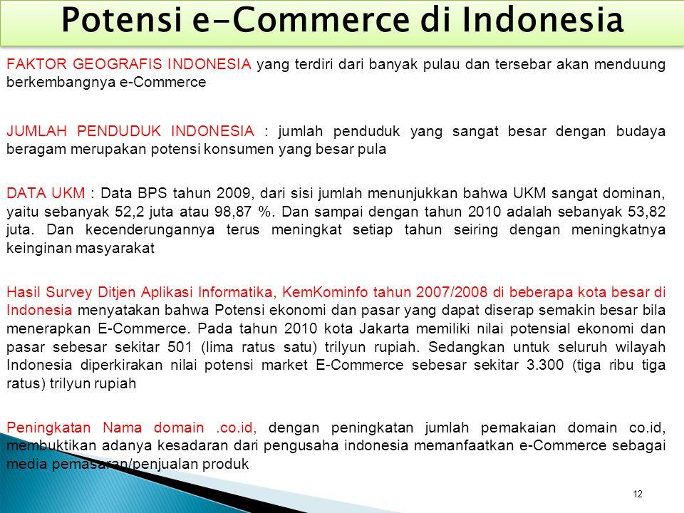 12 Potensi e-Commerce di Indonesia FAKTOR GEOGRAFIS INDONESIA yang terdiri dari banyak pulau dan tersebar akan menduung berkembangnya e-Commerce JUMLA