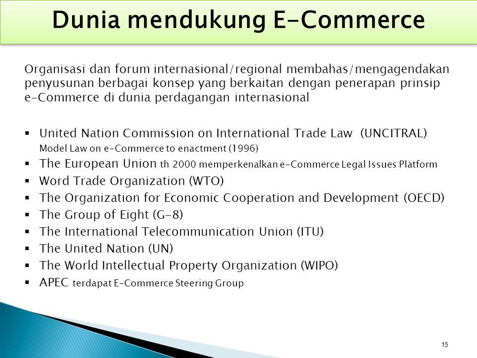 Organisasi dan forum internasional/regional membahas/mengagendakan penyusunan berbagai konsep yang berkaitan dengan penerapan prinsip e-Commerce di du