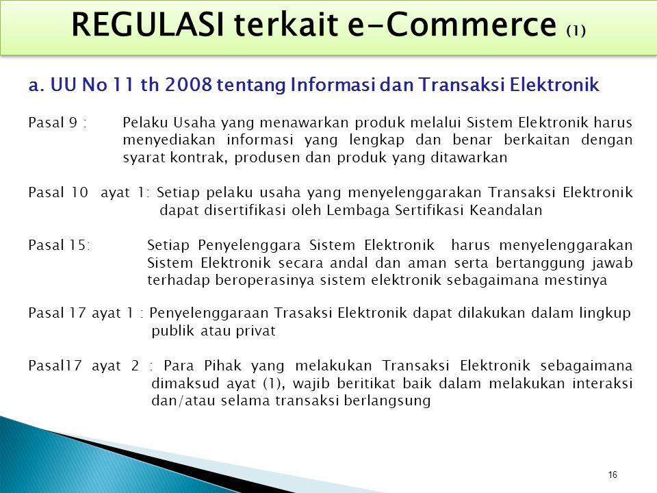 a. UU No 11 th 2008 tentang Informasi dan Transaksi Elektronik Pasal 9 : Pelaku Usaha yang menawarkan produk melalui Sistem Elektronik harus menyediak