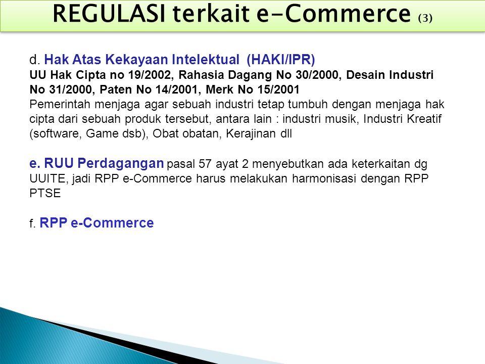 REGULASI terkait e-Commerce (3) d. Hak Atas Kekayaan Intelektual (HAKI/IPR) UU Hak Cipta no 19/2002, Rahasia Dagang No 30/2000, Desain Industri No 31/