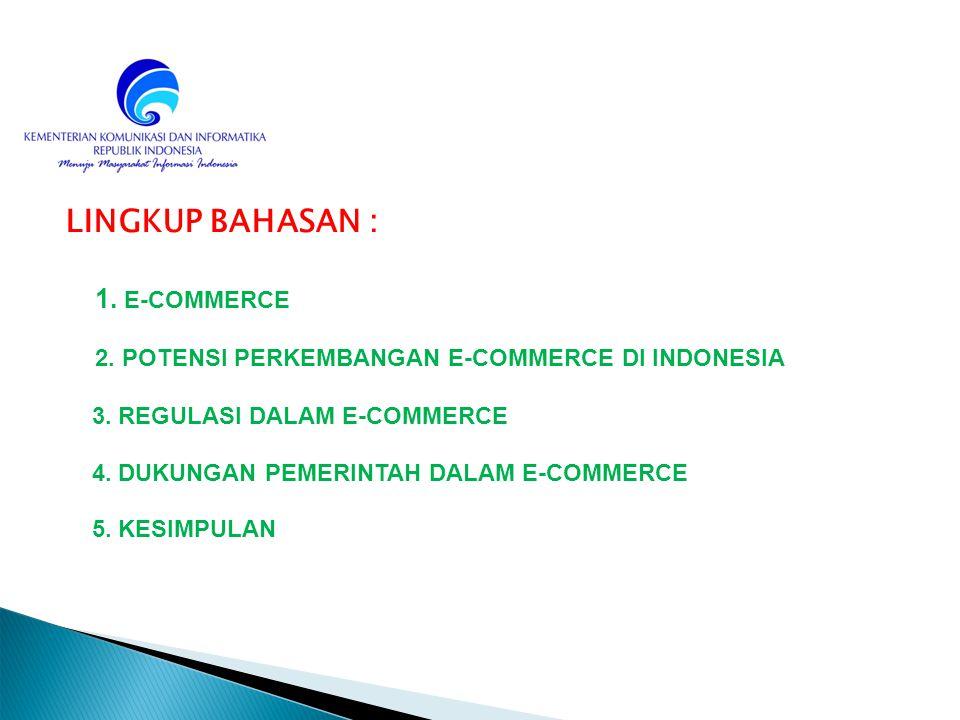 LINGKUP BAHASAN : 1. E-COMMERCE 2. POTENSI PERKEMBANGAN E-COMMERCE DI INDONESIA 3. REGULASI DALAM E-COMMERCE 4. DUKUNGAN PEMERINTAH DALAM E-COMMERCE 5