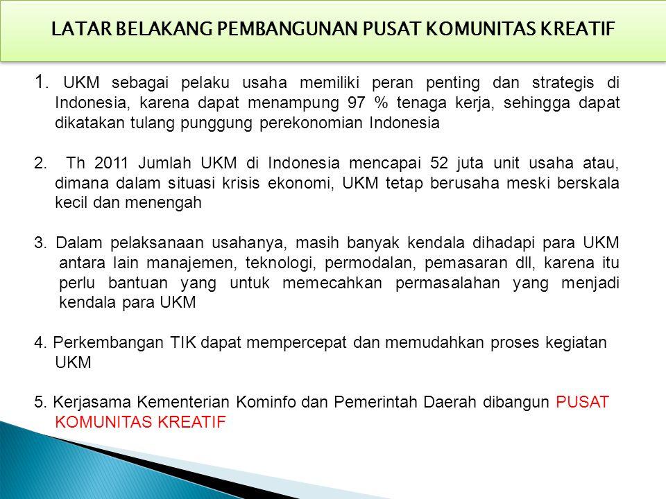 1. UKM sebagai pelaku usaha memiliki peran penting dan strategis di Indonesia, karena dapat menampung 97 % tenaga kerja, sehingga dapat dikatakan tula