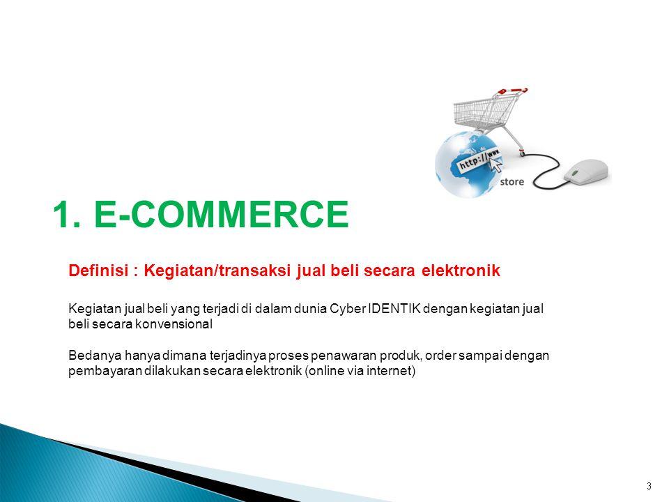 1. E-COMMERCE 3 Definisi : Kegiatan/transaksi jual beli secara elektronik Kegiatan jual beli yang terjadi di dalam dunia Cyber IDENTIK dengan kegiatan