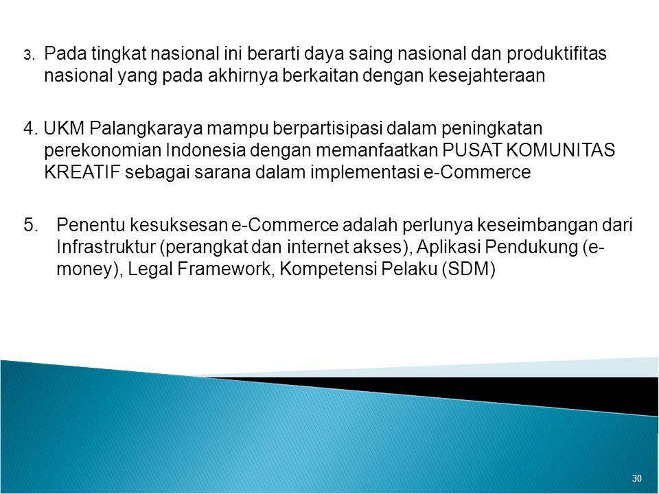 30 3. Pada tingkat nasional ini berarti daya saing nasional dan produktifitas nasional yang pada akhirnya berkaitan dengan kesejahteraan 4. UKM Palang